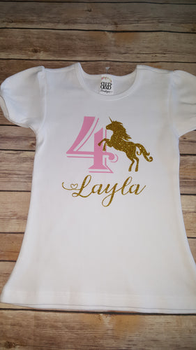 Name & Age Unicorn Shirt