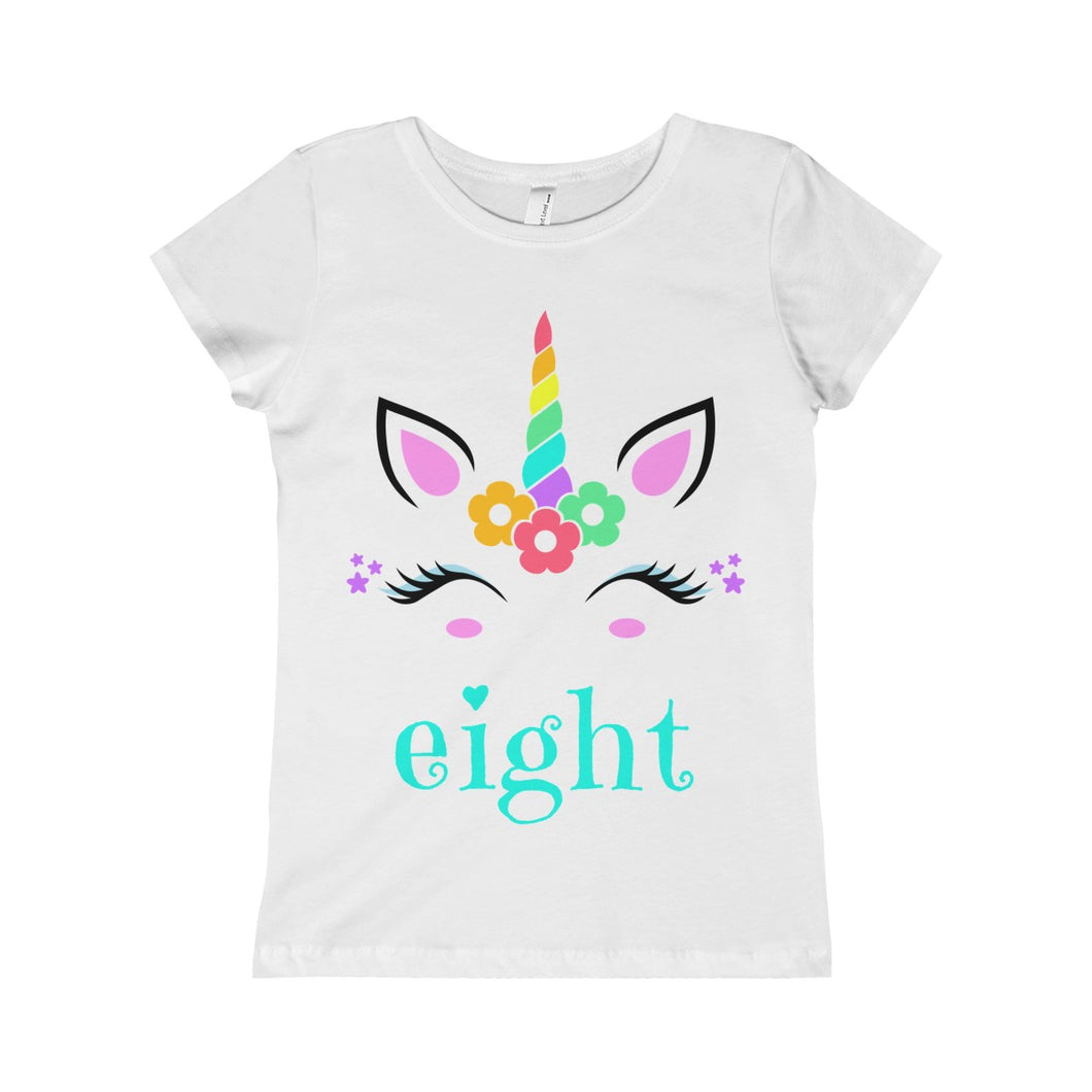 Unicorn Eight Birthday Girls Princess Tee