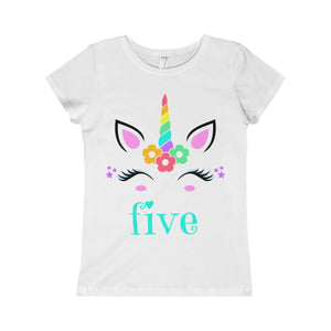 Unicorn Five Birthday Girls Princess Tee
