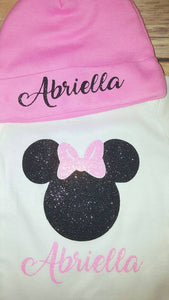 Minnie Mouse Glitter Bodysuit with Beanie