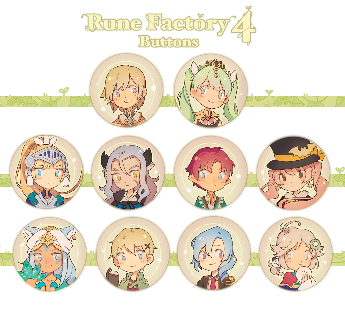 Rune Factory 4 Button Set