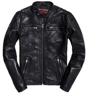 Superdry- Giacca in pelle biker Real Hero
