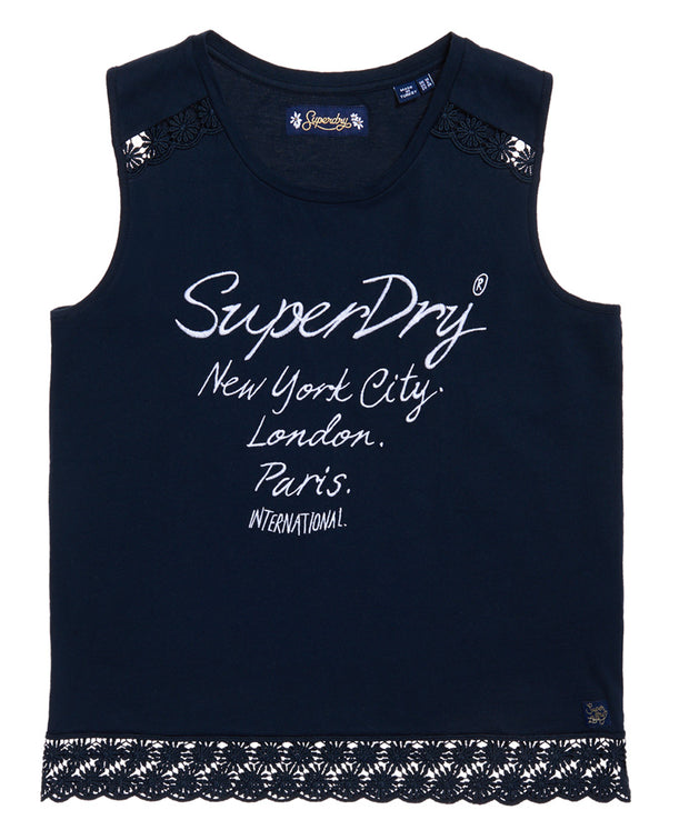 Superdry- Top con logo e ricami