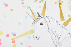 Magical Unicorn in a box Einhornposter Spiele Pin the golden horn on the unicorn