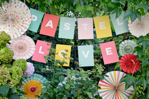 Pastel Love Summer Party Paper Fans und Buchstabengirlande