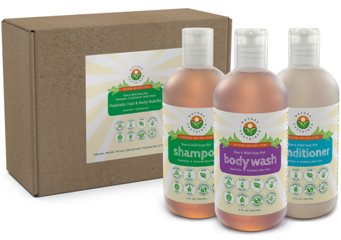 Soapberry Organic Shampoo, Body Wash & Conditioner (3 Pack Gift Bundle) – Raw & Wild Probiotic Shower Set for Sensitive Skin & Dry Hair
