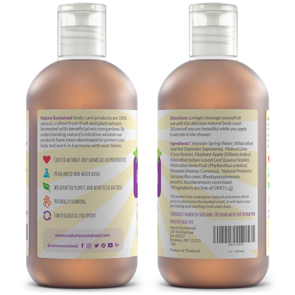 Soapberry Organic Body Wash - Probiotic + Raw & Wild Plants for Sensitive & Dry Skin