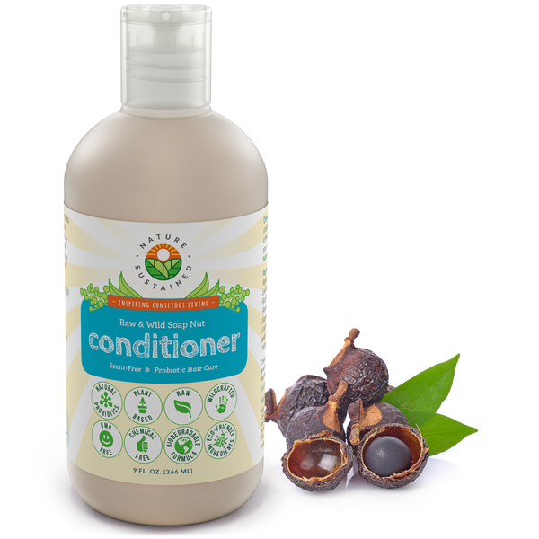 Soapberry Organic Leave In Conditioner for Damaged Dry Hair - Probiotic + Raw & Wild Plants for Dry Itchy Scalp