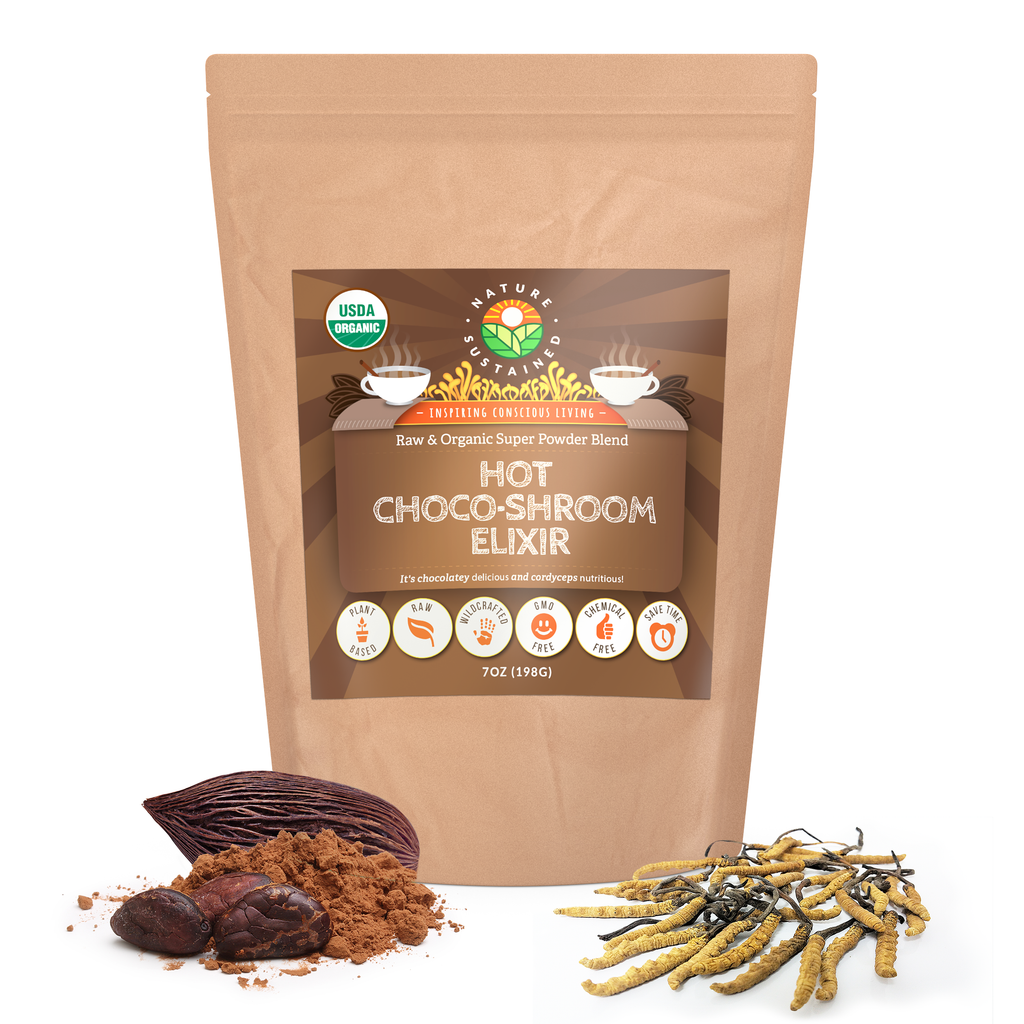 Nature Sustained ORGANIC Raw Hot Choco Shroom Elixir Superfood Powder Blend