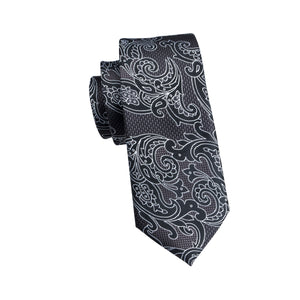Black Paisley Classic Necktie w/ Handkerchief - Venture Travel City