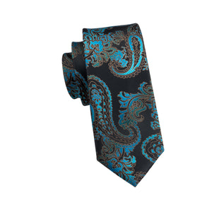 Aqua Dragon Paisley Tie W/Handkerchief - Venture Travel City