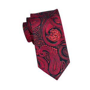 Deep Red-Black Paisley Necktie W/Handkerchief