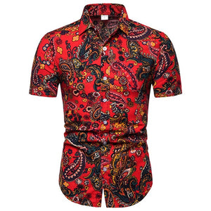 Red Floral Bandana Short Sleeve