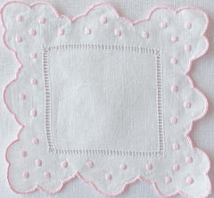 Scalloped Swiss Dot Cocktail Napkin