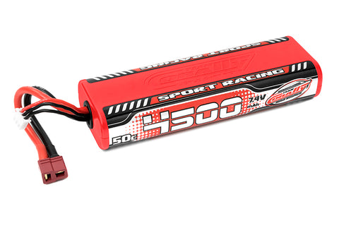 Team Corally - Sport Racing 50C LiPo Battery - 4500mAh - 7.4V - Round 2S Stick - T-Plug
