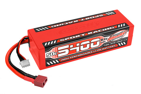 Team Corally - Sport Racing 50C LiPo Battery - 5400mAh - 11.1V - Stick 3S - Hard Wire - T-Plug