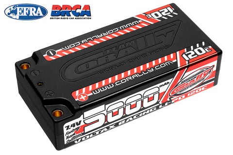 Team Corally - Voltax 120C LiPo Battery - 5000mAh - 7.4V - Shorty 2S - 4mm Bullit