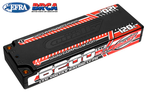 Team Corally - Voltax 120C LiPo Battery - 6200mAh - 7.4V - LCG Stick 2S - 4mm Bullit