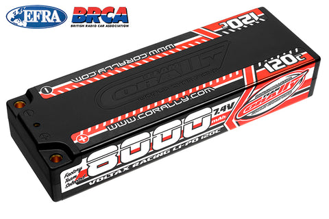 Team Corally - Voltax 120C LiPo Battery - 8000mAh - 7.4V - Stick 2S -  4mm Bullit