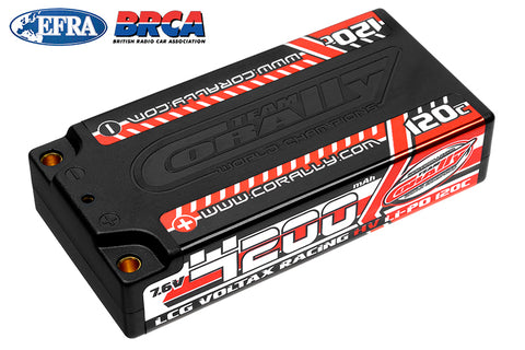 Team Corally - Voltax 120C LiPo HV Battery - 4200 mAh - 7.6V - LCG Shorty 2S - 4mm Bullit