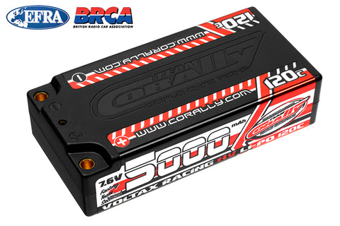 Team Corally - Voltax 120C LiPo HV Battery - 5000 mAh - 7.6V - Shorty 2S - 4mm Bullit