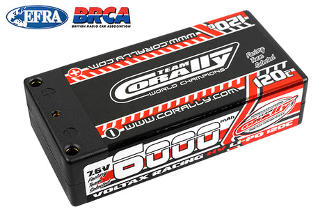 Team Corally - Voltax 120C LiPo HV Battery - 6000 mAh - 7.6V - Shorty 2S - 4mm Bullit