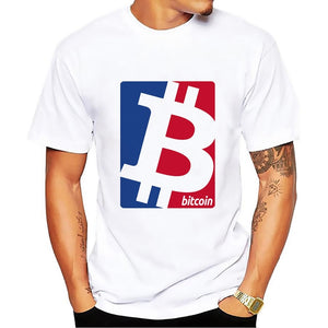 BTC Bitcoin red blue logo design summer t shirt men white tshirt homme casual plus size T-Shirt no glue feeling print