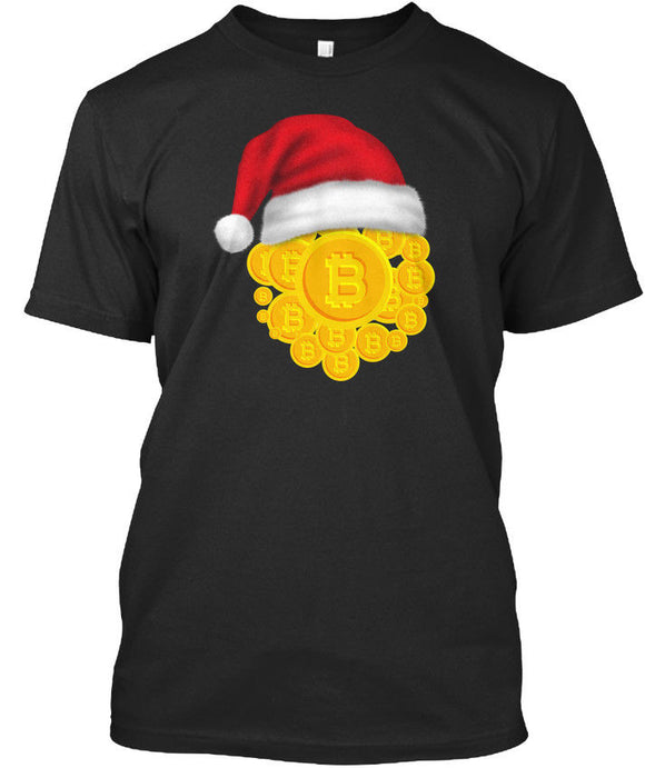 Christmas Bitcoin Santa Hat Xmas Digital Premium Tee T-Shirt