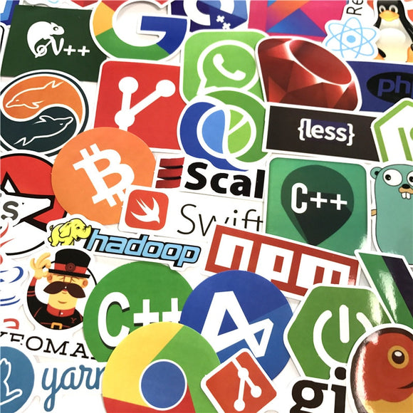 50 Pcs Sticker Bitcoin Programming Language APP Logo Cool Stickers for Laptop Car DIY Stickers Internet Java Html Cloud Docker