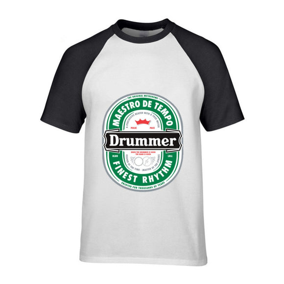 Men's Interesting Drummer T Shirt Men Geek Beer Tee Shirt Rock Music Short Sleeves Brand Designer Bitcoin T-Shirt Drop Shipping