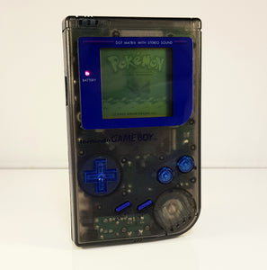 Custom Clear Black Re-Shell Nintendo Game Boy DMG-01- Original Gameboy Console