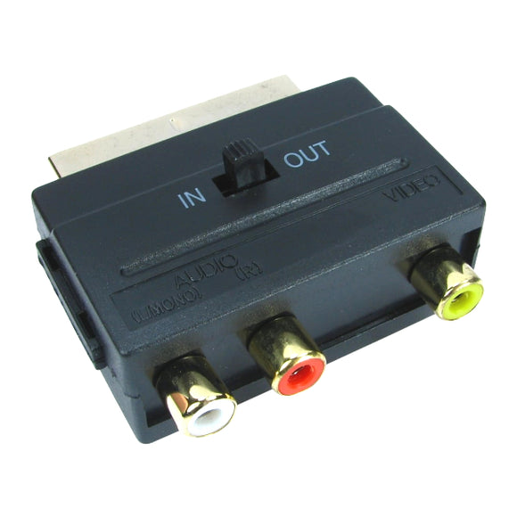 Switchable 3 RCA Phono to Scart Adapter Block for AV Cables - Gaming Outlet