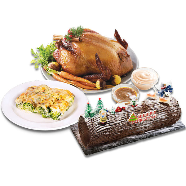 Christmas Party Bundle Set A (Roasted Chicken, 15 CM Log Cake & 1 Sides)