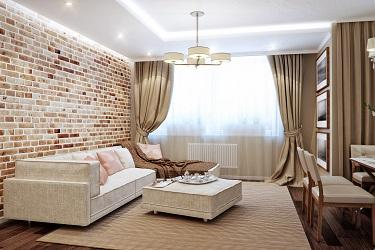 well blended brick front room