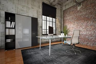 brick office feature wall