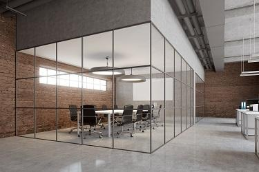 open plan brick style office