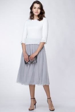 TULLE SKIRT WITH PEARLS