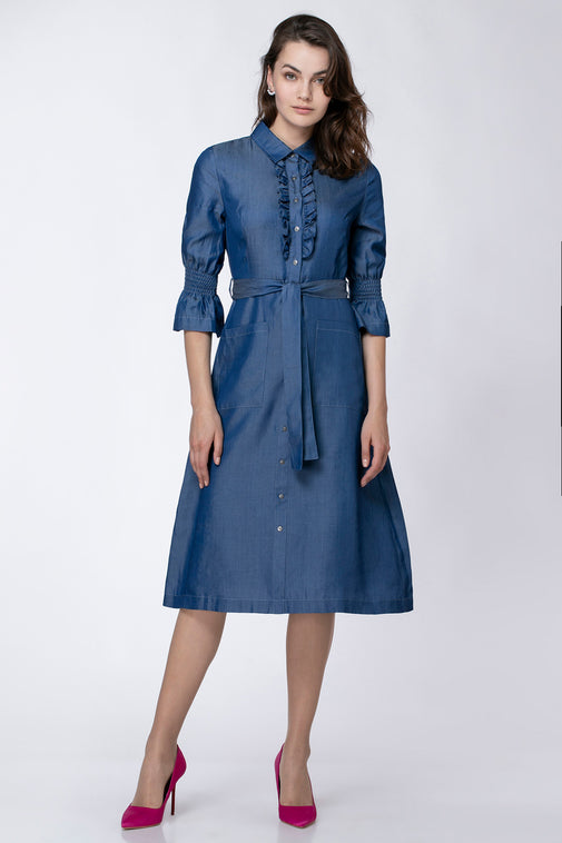 RUFFLE DENIM DRESS