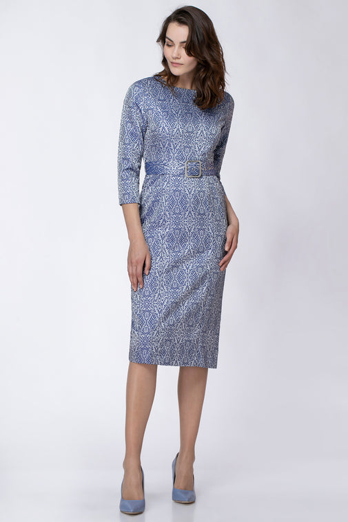 BROCADE DRESS WITH BELT