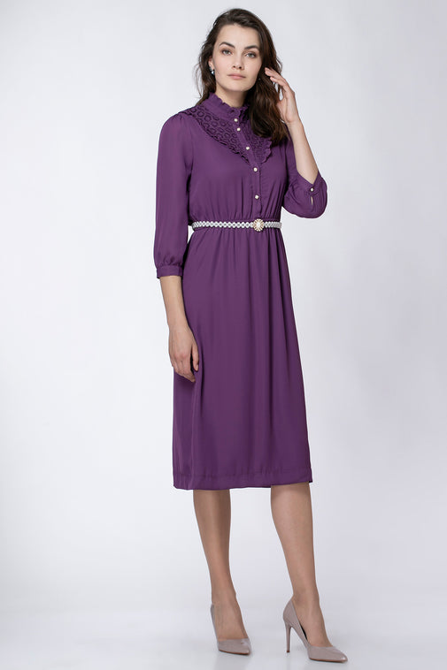 DRESS WITH PLISSE COLLAR