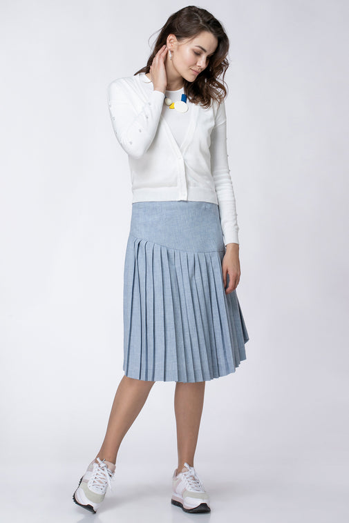 ASYMMETRIC PLISSE SKIRT
