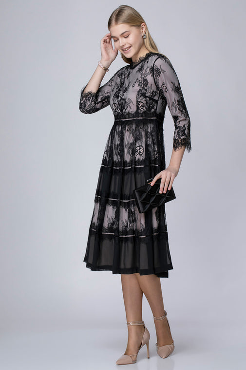 MIDI DRESS WITH INTEGRATED LACE