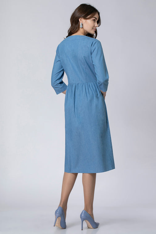 DENIM DRESS WITH ZIPPER