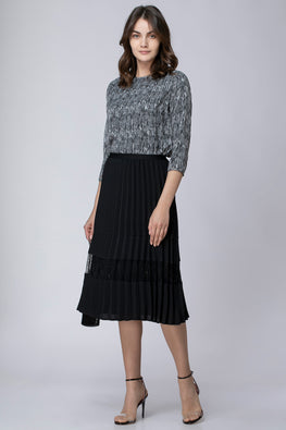 MIXED PLISSE SKIRT