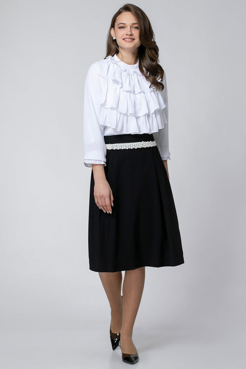 RUFFLE SHIRT WITH TIE