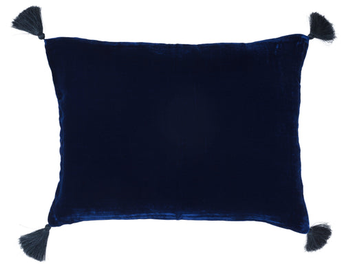 Velvet cushion in electric blue with pompoms