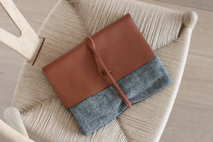 Linen & wool clutch, herringbone motive