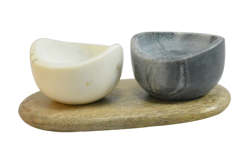 Marble pots on wooden base