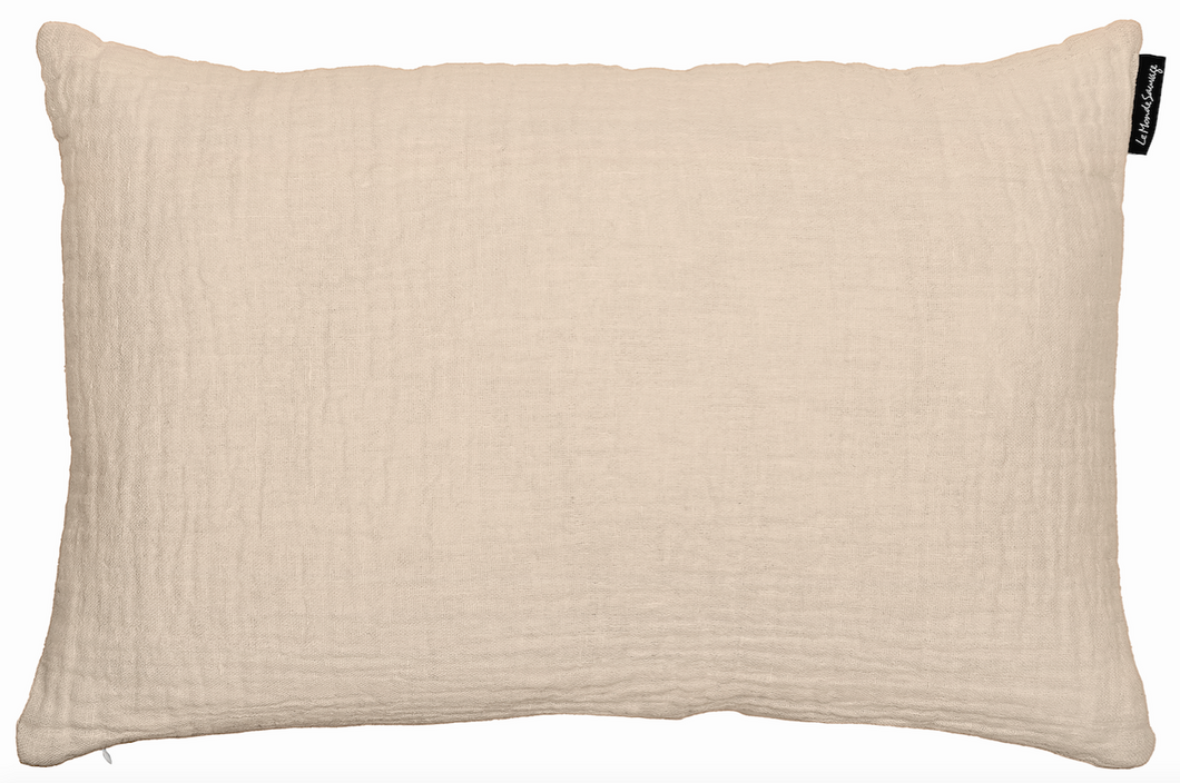 Cushion in waffled linen, vintage look and feel. Beige
