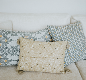 Ethnic inspired cushion, oval print